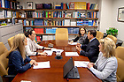 May 21, 2018; Rosângela Moro meets with administrators and staff of The Boler-Parseghian Center for Rare & Neglected Diseases at Jordan Hall of Science. (Photo by Matt Cashore/University of Notre Dame)