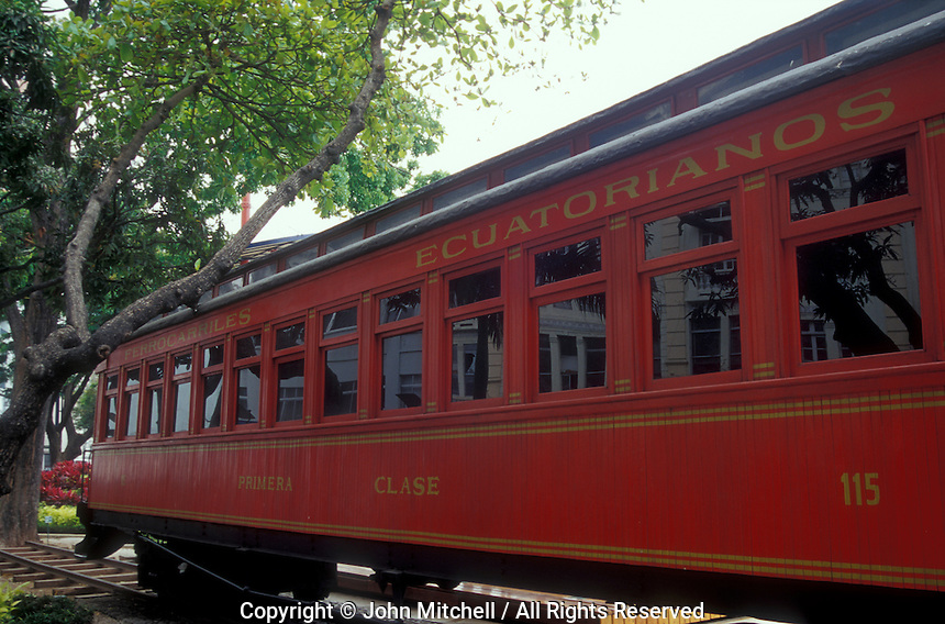 Restored Ferrocarriles Ecuatorianos railway car on the Malecon 2000 in the city of Guayaquil, Ecuador