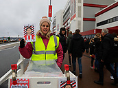 2nd December 2017, bet365 Stadium, Stoke-on-Trent, England; EPL Premier League football, Stoke City versus Swansea City; Program seller outside the bet365 stadium