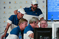 The International Team ponders its next selection during round 1 selections of the 2017 President's Cup, Liberty National Golf Club, Jersey City, New Jersey, USA. 9/27/2017.<br /> Picture: Golffile | Ken Murray<br /> <br /> <br /> All photo usage must carry mandatory copyright credit (&copy; Golffile | Ken Murray)