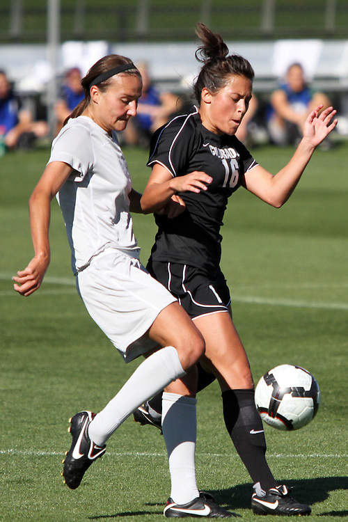 Ashley Johnson (#15), Washington State senior defender, gets a steal during the Cougars match with Colorado in the Gonzaga tournament in Spokane, Washington, on September 12, 2010.  WSU fell to Colorado in overtime, 2-1.