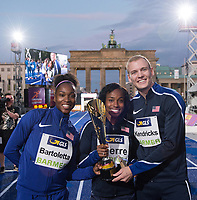"The US team with long jump world champion Tianna Bartoletta, sprinter Barbara Pierre and pole vault world champion Sam Kendricks (L-R) with the trophy after the German Athletics Association (DLV) international competition ""Berlin fliegt"" in Berlin, Germany, 2 September 2017. Photo: Annegret Hilse/dpa /MediaPunch ***FOR USA ONLY***"