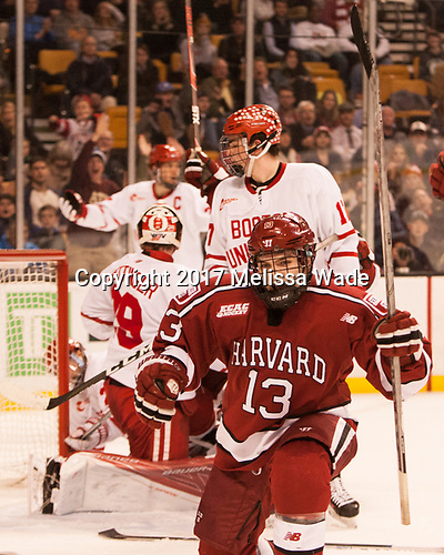 Nathan Krusko (Harvard - 13) - The Harvard University Crimson defeated the Boston University Terriers 6-3 (EN) to win the 2017 Beanpot on Monday, February 13, 2017, at TD Garden in Boston, Massachusetts.