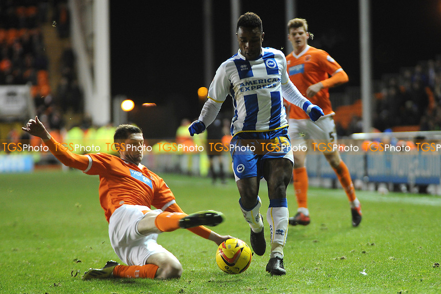 Tom Barkhuizen of Blackpool makes a challenge on Kazenga LuaLua of Brighton and Hove Albion - Blackpool vs Brighton & Hove Albion - Sky Bet Championship Football at Bloomfield Road, Blackpool, Lancashire - 29/12/13 - MANDATORY CREDIT: Greig Bertram/TGSPHOTO - Self billing applies where appropriate - 0845 094 6026 - contact@tgsphoto.co.uk - NO UNPAID USE