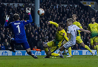 12.12.2013 London, England. Tottenham Hotspur forward Lewis Holtby (14) makes it 3-1 with a deft finish in the area during the Europa League game between Tottenham Hotspur and Anzhi Makhachkala from White Hart Lane.