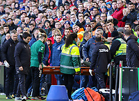 Medical staff remove a person on a stretcher from the Leeds United dugout<br /> <br /> Photographer Alex Dodd/CameraSport<br /> <br /> The EFL Sky Bet Championship - Middlesbrough v Leeds United - Saturday 9th February 2019 - Riverside Stadium - Middlesbrough<br /> <br /> World Copyright © 2019 CameraSport. All rights reserved. 43 Linden Ave. Countesthorpe. Leicester. England. LE8 5PG - Tel: +44 (0) 116 277 4147 - admin@camerasport.com - www.camerasport.com