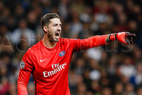 03.11.2015. Madrid, Spain. Keeper Kevin Trapp (16) PSG  during the soccer match UCL Champions League between Real Madrid and PSG at the Santiago Bernabeu stadium in Madrid, Spain, November 3, 2015.