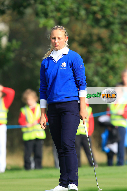Emily Pedersen (DEN) on the 3rd green during Monday's Morning Foursomes Match 2 of the 2014 JUNIOR RYDER CUP at the Blairgowrie Golf Club, Perthshire, Scotland. <br /> Picture:  Thos Caffrey / www.golffile.ie