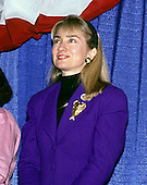 "Hillary Rodham Clinton, wife of Governor Bill Clinton (Democrat of Arkansas), attends a rally for her husband at Hesser Business College in Manchester, New Hampshire on February 17, 1992.  The Clintons were campaigning in advance of New Hampshire's ""First in the Nation"" presidential primary.<br /> Credit: Ron Sachs / CNP"