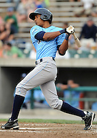 Outfielder Yem Prades (12) of the Wilmington Blue Rocks, Carolina League affiliate of the Kansas City Royals, in a game against the Lynchburg Hillcats on June 15, 2011, at City Stadium in Lynchburg, Va. (Tom Priddy/Four Seam Images)