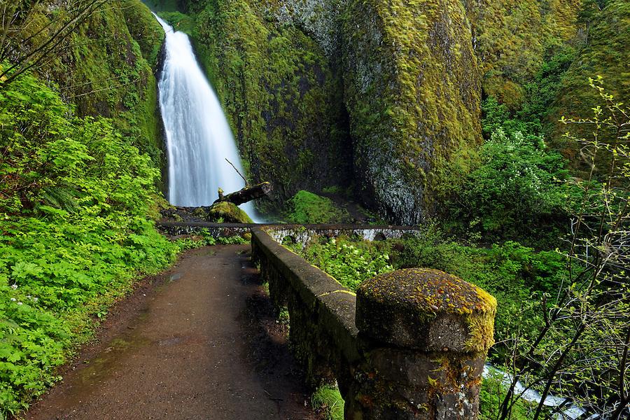 Wahkeena Falls and footbridge, Columbia River Gorge National Scenic Area, Oregon, USA