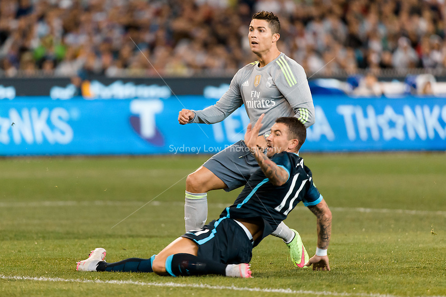 Melbourne, 24 July 2015 - Aleksandar Kolarov of Manchester City and Cristiano Ronaldo of Real Madrid in action in game three of the International Champions Cup match between Manchester City and Real Madrid at the Melbourne Cricket Ground, Australia. Real Madrid def City 4-1. (Photo Sydney Low / AsteriskImages.com)