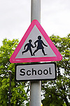 School road sign, Edinburgh.<br /> <br /> Stock photographs for editorial use only.<br /> <br /> Image by: Malcolm McCurrach | New Wave Images UK<br /> Sat, 31, May, 2014