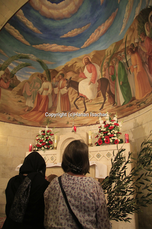 Israel, Jerusalem, Palm Sunday at the Franciscan Church of Bethphage on the Mount of Olives