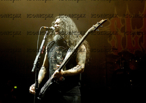 Slayer - vocalist and bassist Tom Araya - performing live on the Unholy Alliance Chapter 2 Tour at the Academy in Brixton London UK - 20 Nov 2006.  Photo credit: George Chin/IconicPix