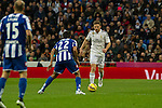 Real Madrid´s Asier Illarramendi and Deportivo de la Coruna's Celso Borges and Laureano Sanabria Ruiz during 2014-15 La Liga match between Real Madrid and Deportivo de la Coruna at Santiago Bernabeu stadium in Madrid, Spain. February 14, 2015. (ALTERPHOTOS/Luis Fernandez)
