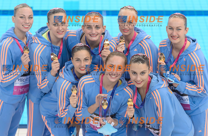 UKRAINE UKR Gold Medal <br /> ANANASOVA Lolita / VOLOSHYNA Anna<br /> IUSHKO Daria / GRECHYKHINA Olena<br /> SAVCHUK Anastasiya / SYDORENKO Kseniya<br /> SABADA Oleksandra / SADURSKA Kateryna<br /> Team Free Final <br /> London, Queen Elizabeth II Olympic Park Pool <br /> LEN 2016 European Aquatics Elite Championships <br /> Synchronized Swimming <br /> Day 05 13-05-2016<br /> Photo Andrea Staccioli/Deepbluemedia/Insidefoto