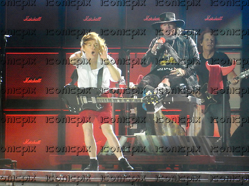 AC/DC - Angus Young, Axl Rose &amp; Stevie Young - performing live at the Passeio Martimo De Alge in Lisbon Portugal - <br /> 07 May 2016.  Photo credit:  Thomas Zeidler/Dalle/IconicPix