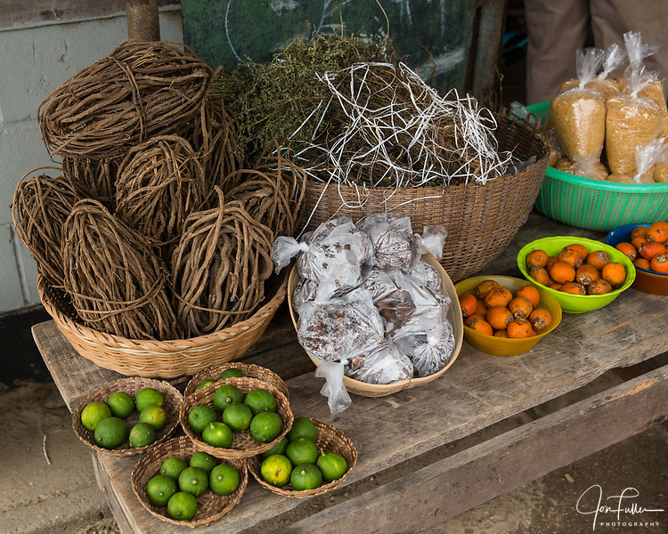Fruits and other items at the open market in Paramaribo, Suriname.
