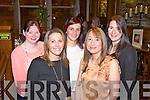 Enjoying a girls night were Abbeyfeale friends Sam McElligott, Jemma McCoy, Caroline Kavanagh, Jodie Murphy and Becky Cahill, pictured here last Friday night in Leen's Hotel, Abbeyfeale.