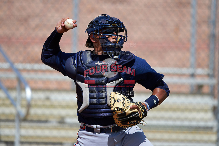 Atlanta Braves Jose Briceno (98) during practice before an instructional league game against the Houston Astros on October 1, 2015 at the Osceola County Complex in Kissimmee, Florida.  (Mike Janes/Four Seam Images)