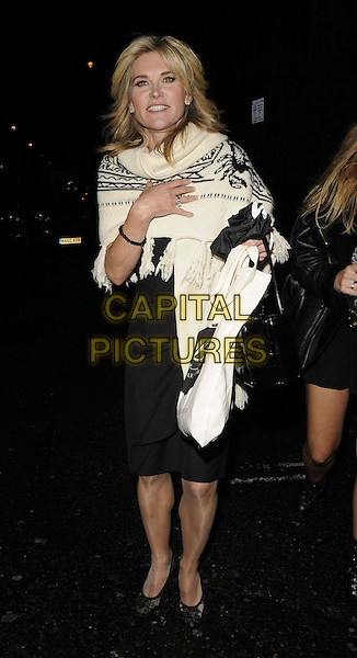 Anthea Turner.The Style for Stroke launch party to raise funds for the Stroke Association, No 5 Cavendish Square bar & nightclub., London, England..October 2nd, 2012.full length black dress white pashmina wrap.CAP/CAN.©Can Nguyen/Capital Pictures.