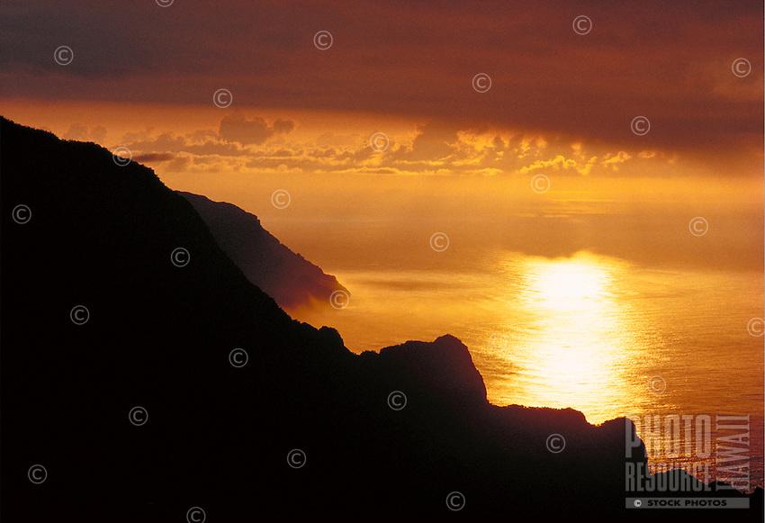 Na Pali coast, aerial, sunset, Kauai