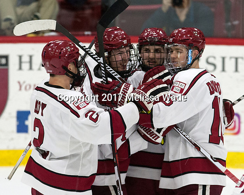 Tyler Moy (Harvard - 2), Lewis Zerter-Gossage (Harvard - 77), Alexander Kerfoot (Harvard - 14), Ryan Donato (Harvard - 16) - The Harvard University Crimson defeated the Yale University Bulldogs 6-4 in the opening game of their ECAC quarterfinal series on Friday, March 10, 2017, at Bright-Landry Hockey Center in Boston, Massachusetts.