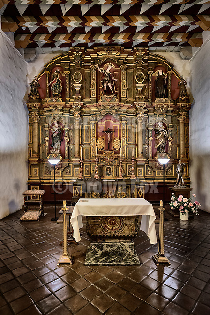 Main altar in the chapel, Mission San Francisco de Asís (Mission Dolores), sixth mission founded in California by Fr. Junipero Serra June 29, 1776. The mission survived the 1906 earthquake though the original adobe church did not.