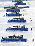 Fireworks are all ready to go along the frozen river. Opening Ceremony. Pyeongchang2018 winter Olympics. Olympic stadium. Pyeongchang. Republic of Korea. 09/02/2018. ~ MANDATORY CREDIT Garry Bowden/SIPPA - NO UNAUTHORISED USE - +44 7837 394578