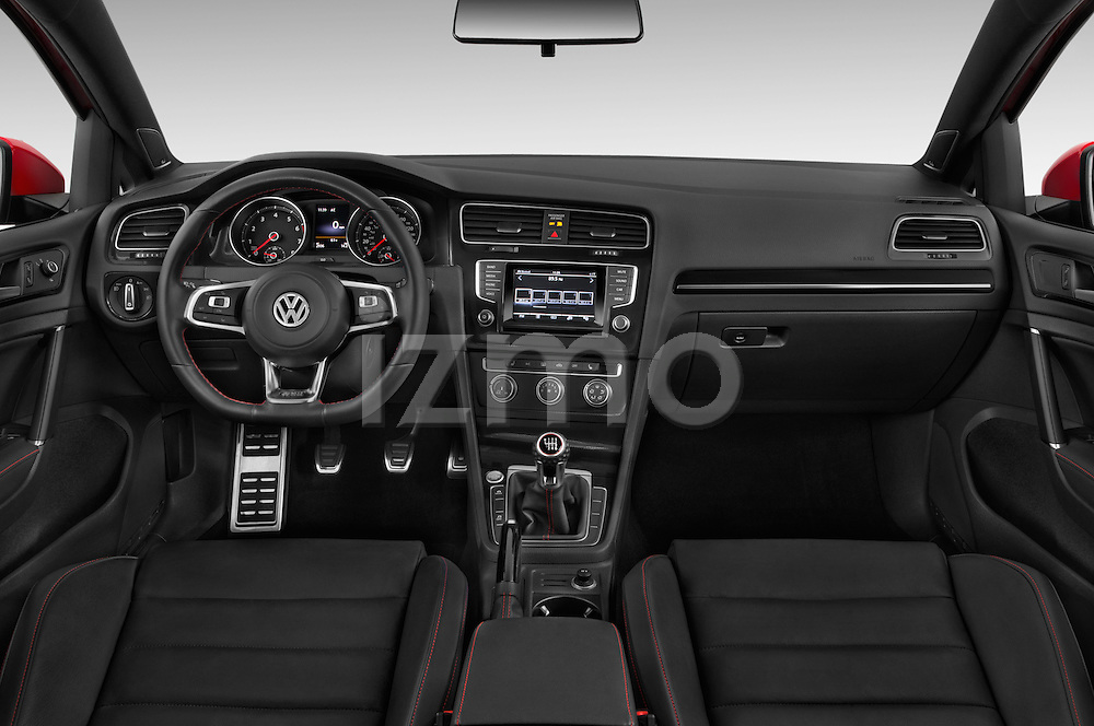 Stock photo of straight dashboard view of a 2015 Volkswagen GTI DSG 2 Door Hatchback Dashboard
