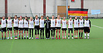 FRANKFURT AM MAIN, GERMANY - April 14: (L-R) Monika Ziegler #18 of Germany, Laura Koschorek #17 of Germany, Anna Blank #16 of Germany, Colleen O'Connor #15 of Germany, Lisa Neubert #14 of Germany, Katharina Schroer #13 of Germany, Eva Schulte #12 of Germany, Julia Duerr #11 of Germany, Nora Schroeder #10 of Germany, Kristina Schaefer #9 of Germany, Inga Hupka #8 of Germany, Pia Balz #7 of Germany, Mareile Kriwall #6 of Germany, Henrike Voigt #5 of Germany, Jella Kandziora #4 of Germany and Sabine Paul #1 of Germany during the national anthem before the Deutschland Lacrosse International Tournament match between Germany vs Great Britain during the on April 14, 2013 in Frankfurt am Main, Germany. Great Britain won, 10-9. (Photo by Dirk Markgraf)