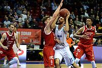 GRONINGEN - Basketbal, Donar - Feyenoord, Dutch Basketbal league, seizoen 2018-2019, 28-10-2018, Donar speler Shane Hammink met Feyenoord speler Coen Stolk