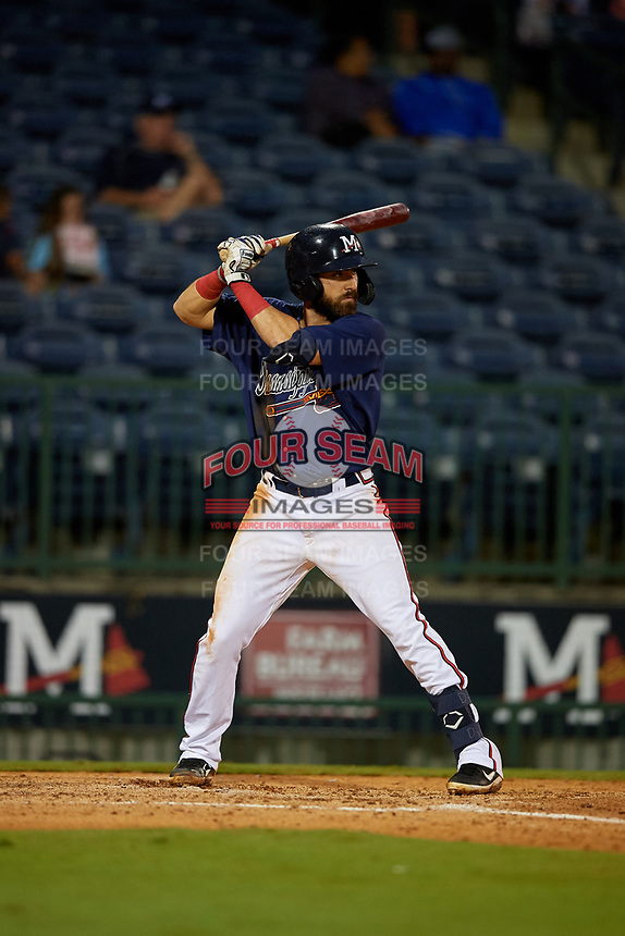 Mississippi Braves Alejandro Salazar (48) at bat during a Southern League game against the Jacksonville Jumbo Shrimp on May 4, 2019 at Trustmark Park in Pearl, Mississippi.  Mississippi defeated Jacksonville 2-0.  (Mike Janes/Four Seam Images)