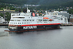 Hurtigruten ship 'Spitsbergen' arriving at port of Molde,  Romsdal county, Norway