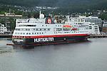 Hurtigruten ship 'Spitsbergen' arriving at port of Molde,  Romsdal county, Norway
