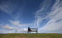 Dramatic sky above a bench on the 11th during the practice round before the 2014 Alfred Dunhill Links Championship, The Old Course, St Andrews, Fife, Scotland. Picture:  David Lloyd / www.golffile.ie