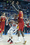 Real Madrid's Luka Doncic (l) and Galatasaray Odeabank Istambul's   Deon Thompson during Euroleague, Regular Season, Round 5 match. November 3, 2016. (ALTERPHOTOS/Acero)
