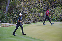 Dustin Johnson (USA) and Adam Hadwin (CAN) make their way to the 2 green during day 2 of the World Golf Championships, Dell Match Play, Austin Country Club, Austin, Texas. 3/22/2018.<br /> Picture: Golffile | Ken Murray<br /> <br /> <br /> All photo usage must carry mandatory copyright credit (&copy; Golffile | Ken Murray)