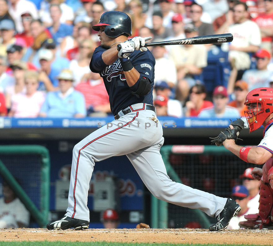 MARTIN PRADO, of the Atlanta Braves in action against the Philadelphia Phillies during the Braves game in Philadephia, PA on July 27,  2008... The Phillies won the game 10-9.
