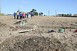 Students from Dillonstown NS at the Site where archaeologists believe they have found the remains of a huge Viking fortress near the village of Annagassan in Co Louth..Picture Jenny Matthews/Newsfile.ie