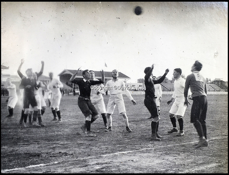 BNPS.co.uk(01202 558833)<br /> Pic: DavidLay/BNPS<br /> <br /> First test match against Argentina.<br /> <br /> A rare photo album which documents the historic first British Lions' tour to Argentina in 1910 has been unearthed, and it shows rugby players were no strangers to a bit of mischief back then.<br /> <br /> The fascinating photos capture what went on both on and off the pitch as a squad of 16 English and three Scottish players embarked on a six match tour of the country culminating in a historic test match with Argentina.<br /> <br /> It was Argentina's first ever test match and the Lions emerged 28-3 winners in a game played at a polo ground in Buenos Aires.<br /> <br /> The photos capture the vibrant social side of the tour as the rugby players were not afraid to let their hair down.