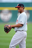 Pawtucket Red Sox shortstop Xander Bogaerts (15) warms up before a game against the Buffalo Bisons on August 4, 2013 at Coca-Cola Field in Buffalo, New York.  Pawtucket defeated Buffalo 8-1.  (Mike Janes/Four Seam Images)