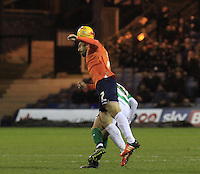 Alex Lawless of Luton Town gets a head to the ball during the Sky Bet League 2 match between Luton Town and Yeovil Town at Kenilworth Road, Luton, England on 2 February 2016. Photo by Liam Smith.