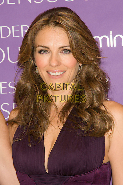 "ELIZABETH HURLEY .Worldwide Debut of Estee Lauder's Newest Fragrance ""Sensuous"".at Bloomingdale's, New York, NY, USA, July 8, 2008..photocall Estee portrait headshot model face purple earrings perfume Liz.CAP/LNC/TOM.©LNC/Capital Pictures"