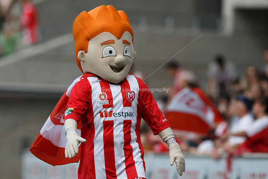 MELBOURNE - 24 FEB: The Heart mascot warms up the crowd in the round 22 A-League match between Melbourne Heart and Sydney FC at AAMI Park on 22 February 2013. (Photo Sydney Low/syd-low.com/Melbourne Heart)
