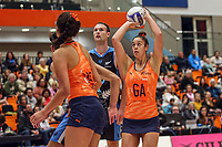 {All Stars Maia Wilson looks to grab a point during the Cadbury Netball Series match between NZ Men and All Stars at the Bruce Pullman Arena in Papakura, New Zealand on Friday, 28 June 2019. Photo: Dave Lintott / lintottphoto.co.nz