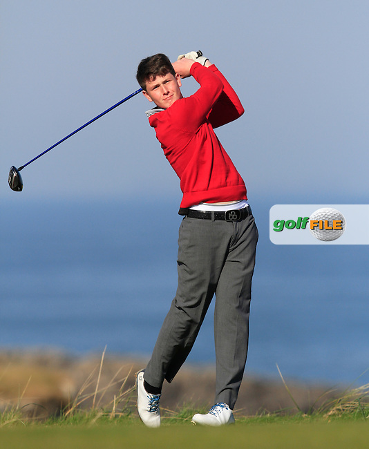 Peter Cummins (Lurgan) during Round 2 of the 54 hole Stroke Play on April 9th 2015 for the 2015 Munster Youths' Open Championship, Tralee Golf Club, Tralee, Co.Kerry Ireland.<br /> Picture: Thos Caffrey / Golffile