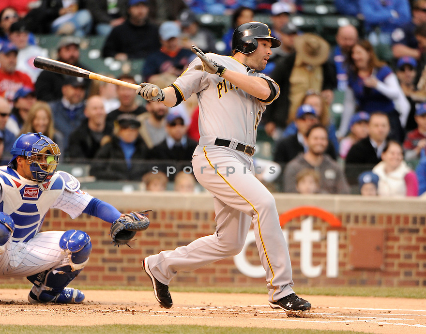 GARRETT JONES, of the Pittsburgh Pirates, in actions during the Pirates game against the Chicago Cubs at Wrigley FIeld on April 3, 2011.  The Pirates won the game beating the Cubs 5-4.