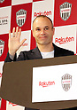 May 24, 2018, Tokyo, Japan - Spanish midfielder Andres Iniesta of former FC Barcelona reacts upon his arrival at a press conference as he joins Vissel Kobe of Japan's professional football league J-League in Tokyo on Thursday, May 24, 2018. Vissel Kobe is owned by Japanese online commerce giant Rakuten and Rakuten is now uniform sponsor of FC Barcelona.   (Photo by Yoshio Tsunoda/AFLO) LWX -ytd-